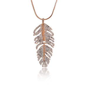 Golden Silvery Crystal Turntable Feather Pendant Charm Long Necklace