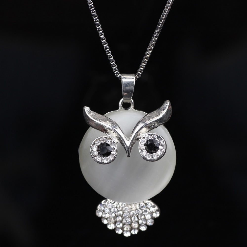 Cute Owl With A Sparkle Above Necklace