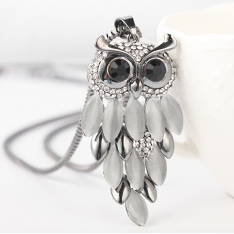 Stylish Sparkling Owl Necklace