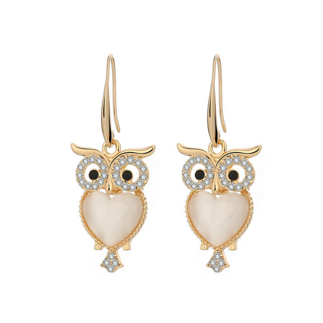 Cat's Eye Gem Heart Owl Earrings