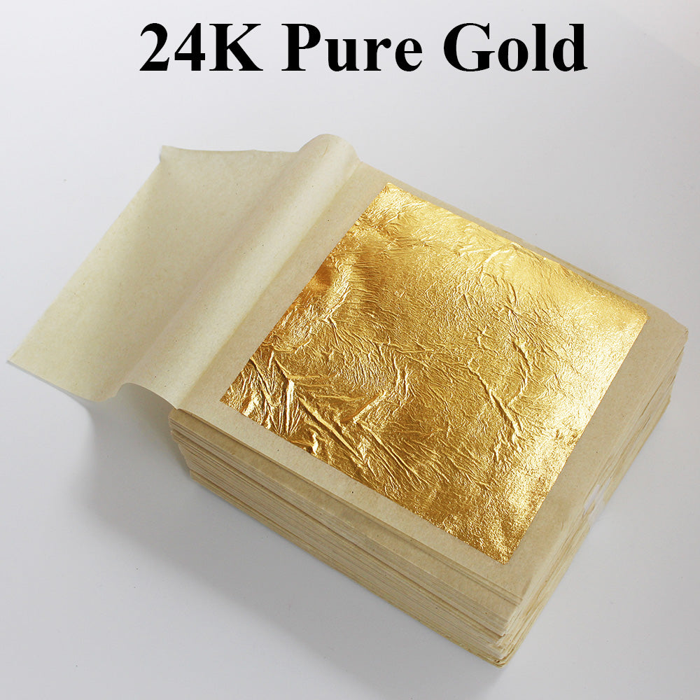 10 PCS 99.9% 24K Genuine Gold Leafs, Edible & Anti Aging