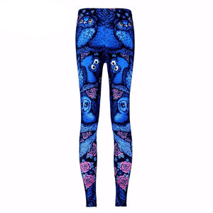 Blue Midnight Owl Fitness Leggings