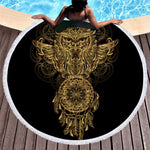 Large Dramatic Round Dreamcatcher Owl Towel
