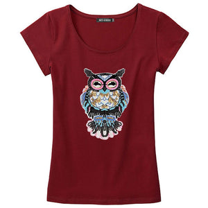 Owl Hand-Beaded Sequins Dimensional Pattern O-Neck T-Shirt