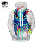Into the Blue by Pixie Cold Watercolor Owl Art Hoodie