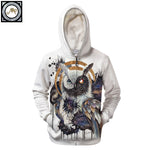 Yin Yang Owl Hoodie By Brizbazaar Art With a Zipper