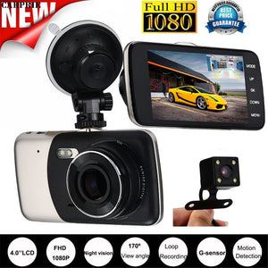 CARPRIE 4'' IPS HD 1080P Car Dual Lens Camera DVR Video Recorder Rear Dash Cam G-sensor