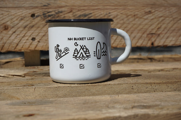 For those who love the outdoors, this 8 oz enamel mug features the great outdoor activities we find in New Hampshire! This great cup will keep your coffee caliente!