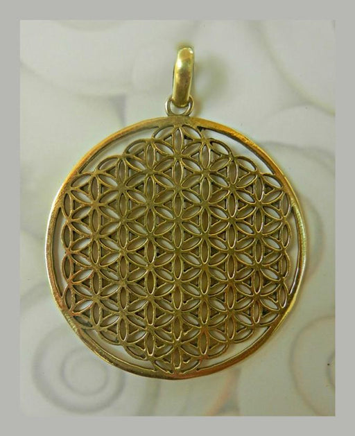 Round Geometrical Flower of Life Tribal Brass Pendant