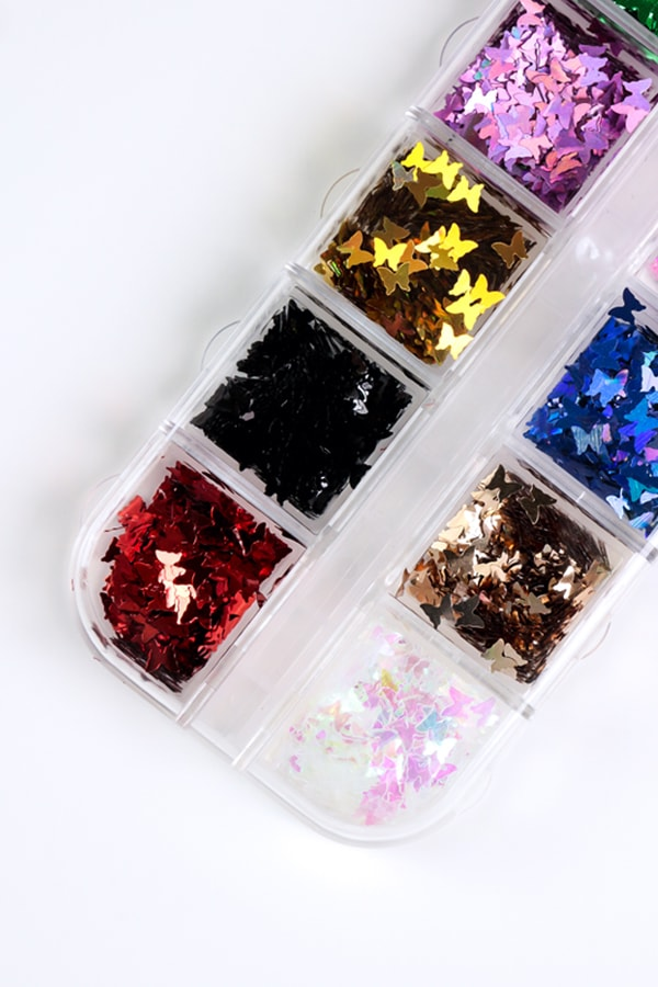 12 Color Butterfly Nail Glitter Sequins