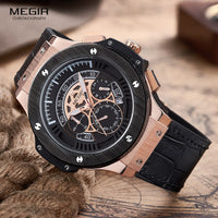 Luxury Men Sports Chronograph Luminous Wristwatch Leather Quartz Watch