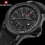 NAVIFORCE luxury watches for men waterproof auto date leather wristwatches