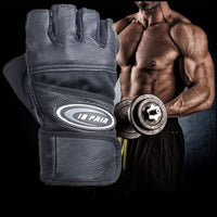 Body Building Weightlifting Leather Fitness Long Wrist Wrap Gloves