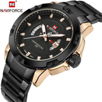 NAVIFORCE Quartz Watch Waterproof Full Steel Gold Wristwatches