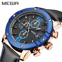 MEGIR Watch Top Brand Luxury Leather Men Quartz