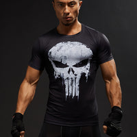 Short Sleeve 3D Men Skull Fitness Compression Superhero shirt