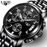 LIGE Top Brand Luxury Fashion Sport Full Steel watch