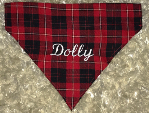 Embroidered Buffalo Plaid Dog Bandana Over the Collar