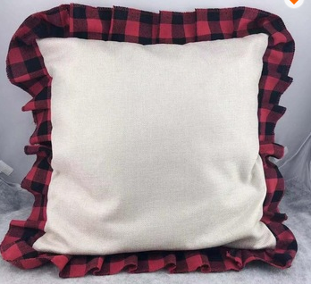 Buffalo Plaid Ruffle Pillow Cover - Pillow Sham only - Sublimation or Heat Transfer