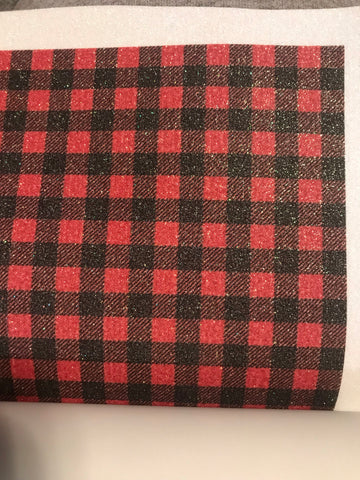 Red Buffalo Plaid Pattern Glitter HTV