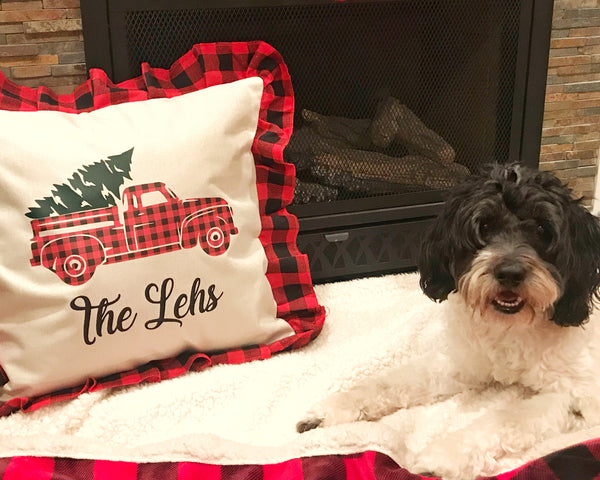 Personalized Buffalo Plaid Holiday Pillow