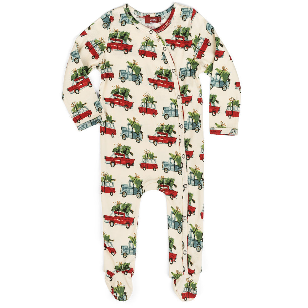 Christmas Cars Organic Cotton Footed Romper - Select Size