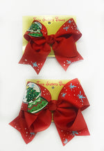 "Snow Globe  -Handpainted Red Hair bow - Choose 6"" or 8"""