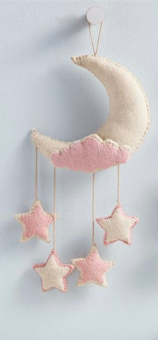 Pink Moon Felt Wall Hanging