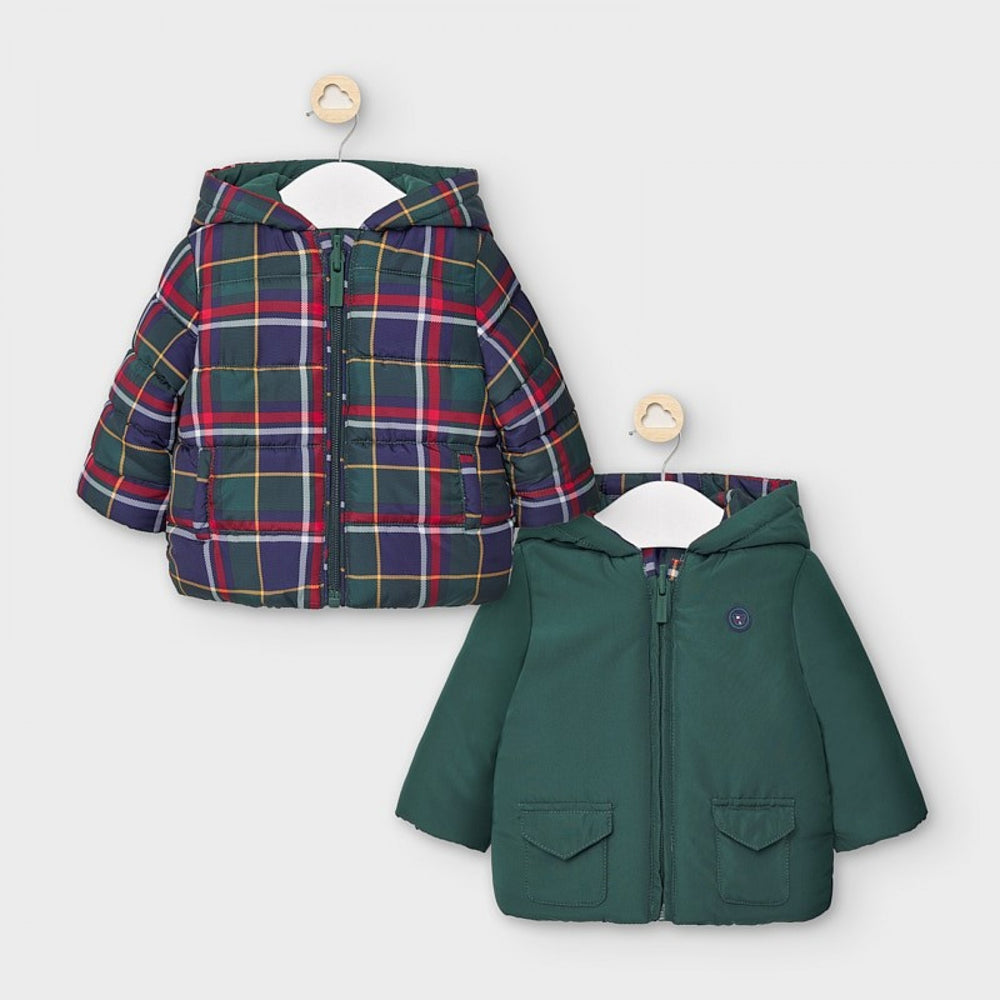 Reversible Infant Boys Coat - Green / Plaid - Select Size