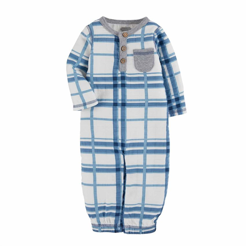 Blue Plaid Muslin Gown - Select Size