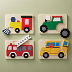 Wood Transportation Puzzles - Choose Tractor, Bus, Firetruck or Train