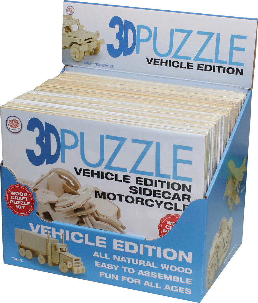 3-D Puzzle Vehicle - 6 Styles to Choose
