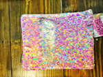 Magic Sequin Holographic Pink Champagne & Iridescent Silver Pencil Pouch