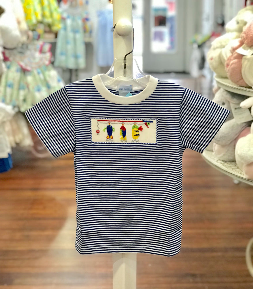 Fishing Smocked Royal Stripe Boys' Short Sleeve Tee - Select Size