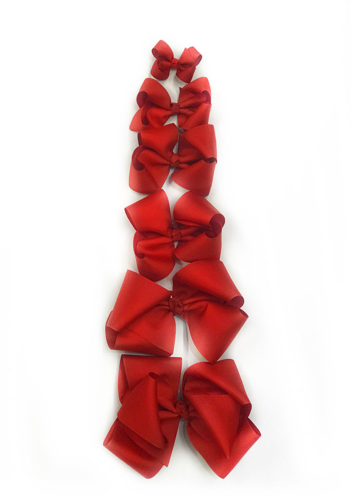 "Red Hair Bow - Choose Size (3""-8"")"