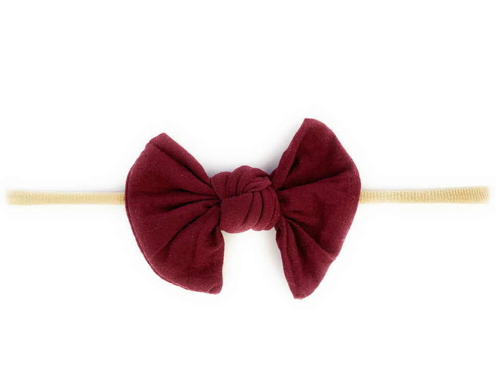 Knotted Bow Skinny Nylon Headband - Select Color