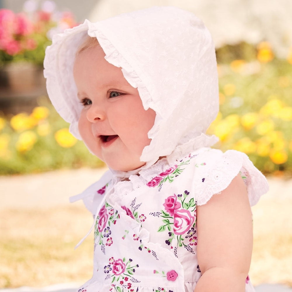 White Broderie Anglaise Baby Bonnet- Select Size