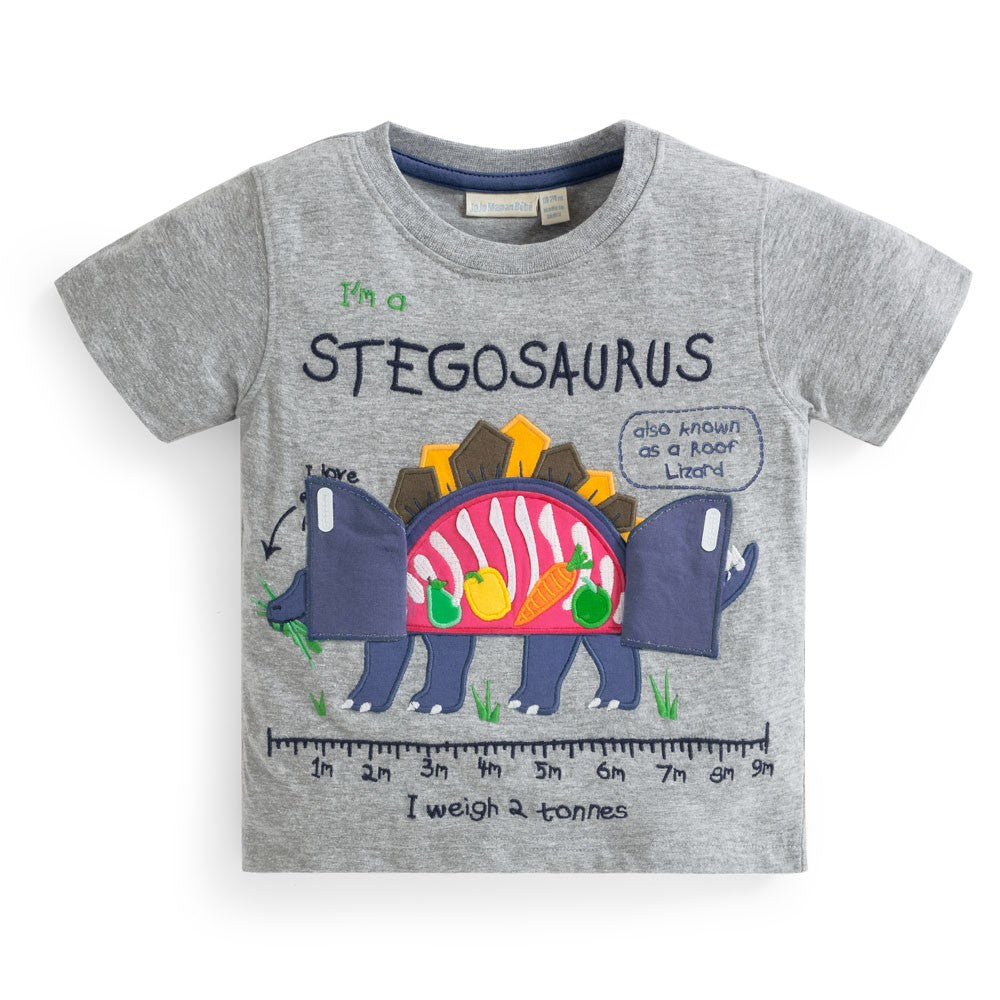 Boys' Stegosaurus Belly Appliqué T-Shirt - Select Size