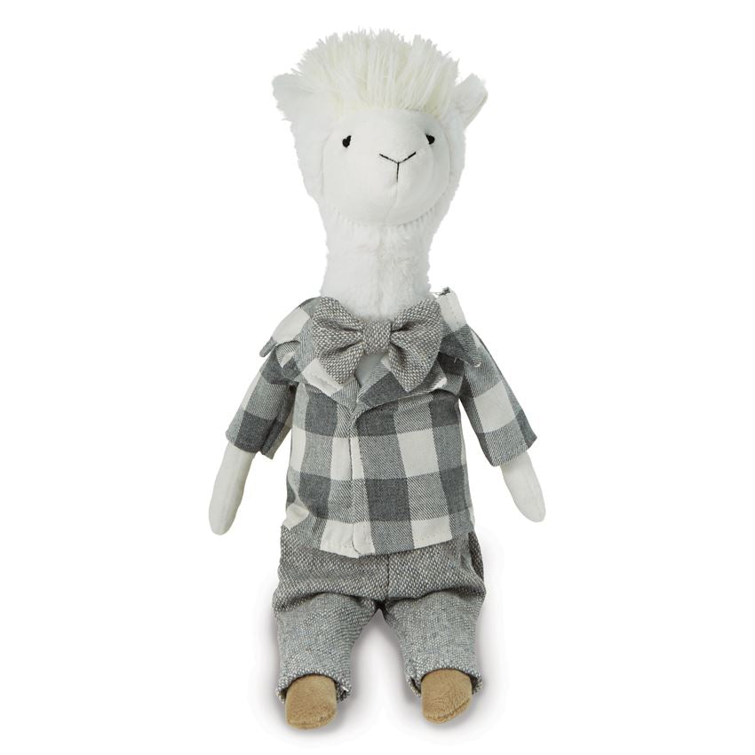 Llama Doll with Plaid Shirt and Bow Tie