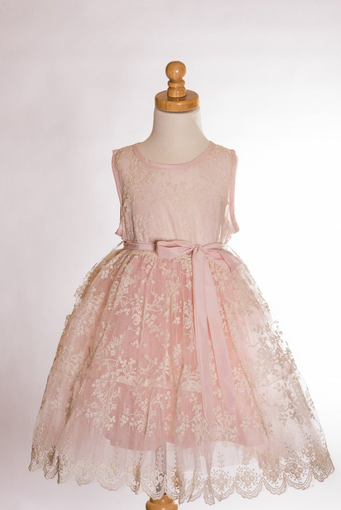 Pink and Cream Lace Princess Dress
