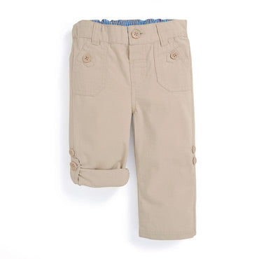 Twill Turn Up Trousers- Stone - Select Size