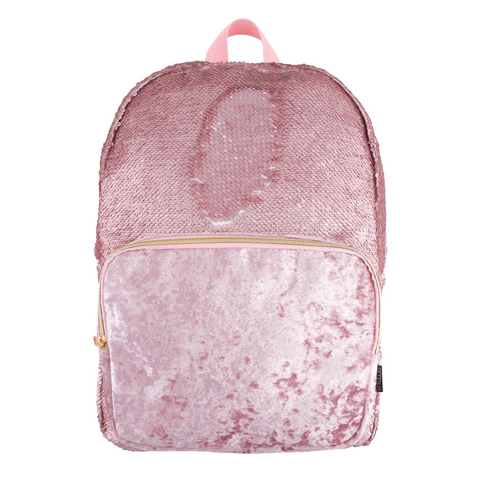 Magic Sequin Backpack - Blush Pink Glitter with Crushed Velvet Pocket