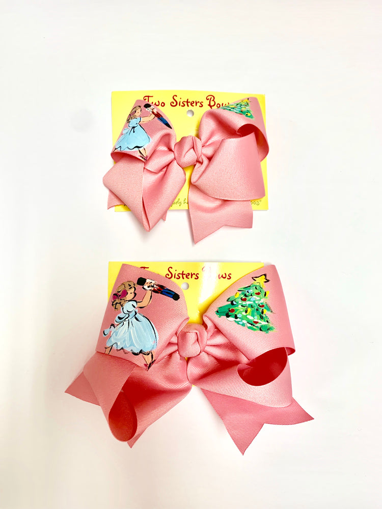 "Nutcracker -Handpainted Pink Hair bow - Choose 6"" or 8"""