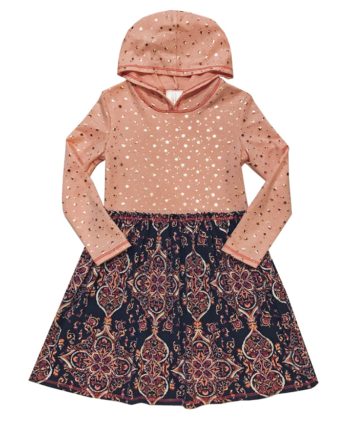 Blush Stars Navy Print Dress with Long Sleeves & Hood - Select Size