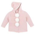 Cardigan Pink Hooded Pom