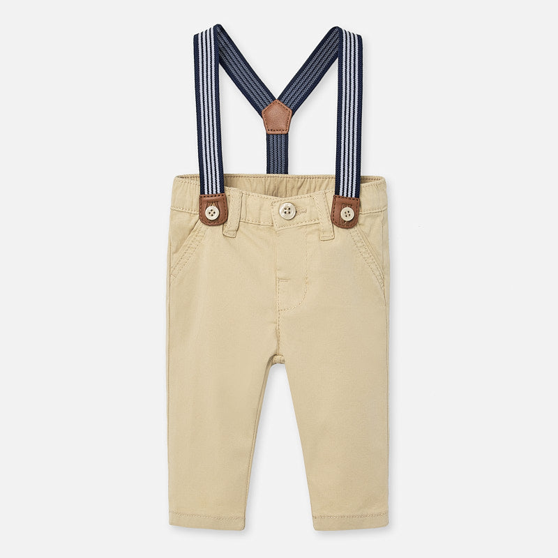 Sand Twill Pants with Striped Suspenders - Select Size