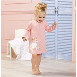 Pink French Terry Unicorn Raglan Dress - Select Size