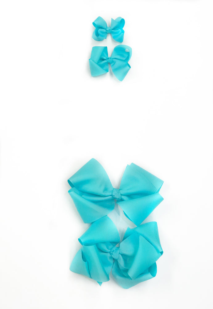 "Aqua Hair Bow - Choose Size (3""-8"")"