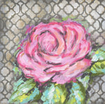 Pink Rose On Grey Abstract Canvas - RM205 - Wall Art
