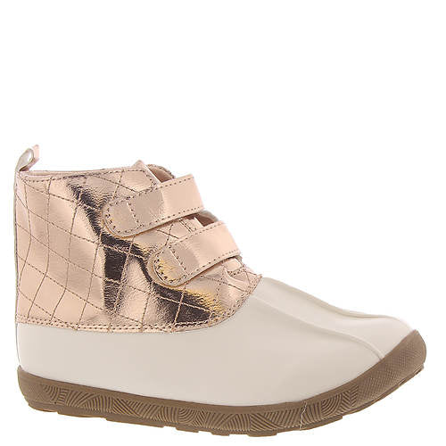 Ivory and Rose Gold Metallic Duck Boots with Quilting - Select Size